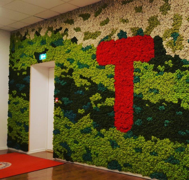 Mosekledd vegg på Den norske Turistforenings hovedkontor på Youngstorget.